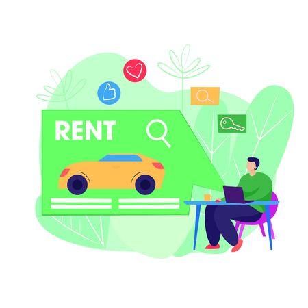Car rental illustration. Man using computer, choosing vehicle, giving feedback. Service concept. Vector illustration for topics like travel, tourism, car driving Stock Illustratie