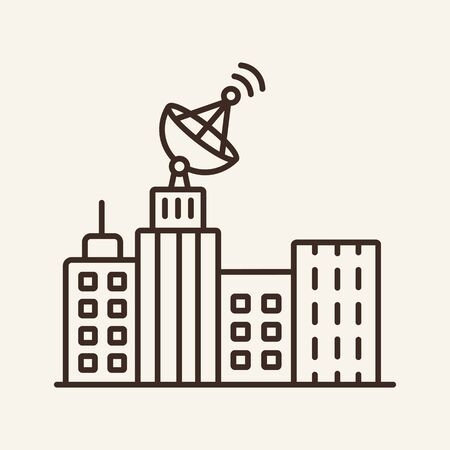 City and satellite line icon. Building, skyscraper, satellite dish. Communication service concept. Vector illustration can be used for topics like communication, telephony, voice connection Фото со стока - 132572155