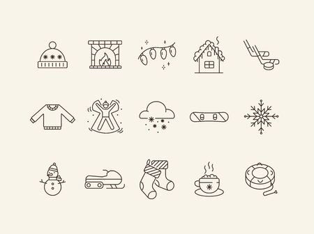 Winter vacation line icon set with Christmas fairy lights and fireplace. Sweater, snow angel, snowflake. Hello winter concept. Can be used for topics like New year, holidays, outdoor activity