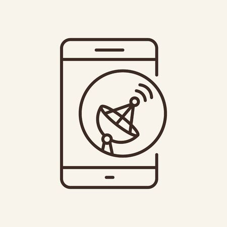 Mobile and satellite line icon. Phone, dish, signal. Communication service concept. Vector illustration can be used for topics like communication, telephony, voice connection