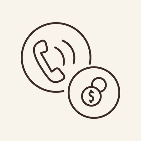 Phone and dollar sign line icon. Telephone, money, calling. Communication service concept. Vector illustration can be used for topics like communication, telephony, voice connection Иллюстрация