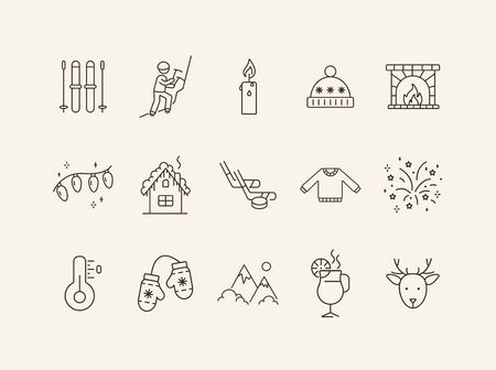 Winter vacation line icon set with warm clothes. Mountains, hot drink, mitten, fireplace. Hello winter concept. Can be used for topics like New year, holidays, outdoor activity Illusztráció