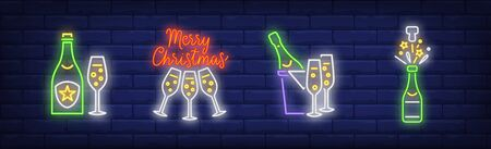 Champagne flutes and bottles neon signs set. Celebration, holiday party design. Night bright neon sign, colorful billboard, light banner. Vector illustration in neon style.