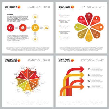 Creative infographic set for management or strategy concept. Can be used for business project, annual report, web design, presentation slide templates. Petal diagram, step chart, flowchart, process