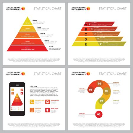 Creative chart set for communication, research concept. Can be used for business project, marketing report, web design, workflow layout. Pyramid, step diagram, mobile phone, question mark