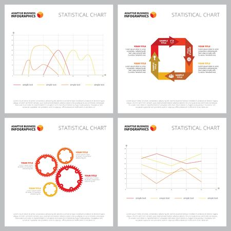Creative infographic set for performance, efficiency concept. Can be used for business project, annual report, web design, workflow layout. Line chart, cycle, process, mechanism