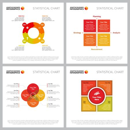 Creative infographic set for analysis, human resource concept. Can be used for business project, marketing report, web design. Step chart, circle, venn diagram, option