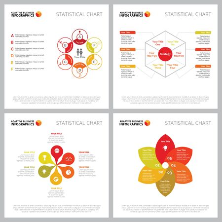 Creative infographic set for cooperation or strategy concept. Can be used for business project, annual report, web design, workflow layout. Petal diagram, step chart, hexagon