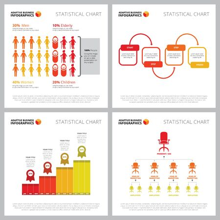 Creative diagram set for statistics or demography concept. Business graphs for annual report, web design, presentation slide templates. Percentage, step diagram, timeline, flowchart, year Illustration