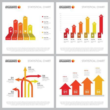 Creative chart set for statistics, marketing, analysis concept. Business diagrams for annual reports, web design, or presentation slide templates. Bar chart, arrow, percentage, step diagram Illusztráció