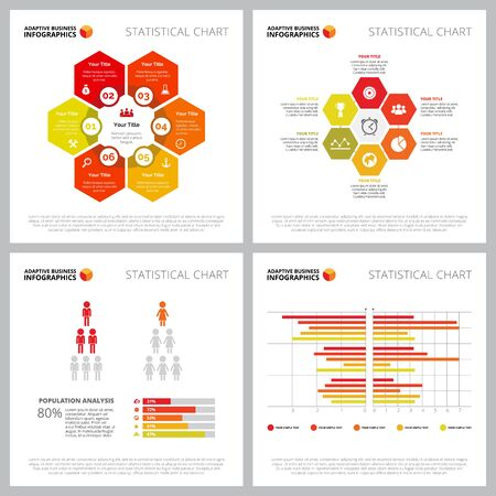 Creative infographic set for population or teamwork concept. Can be used for business project, marketing report, web design, presentation slide template. Hexagon, pyramid, human, process, bar chart