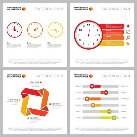Creative chart set for time management or planning concept. Can be used for business project, statistical report, web design, presentation slide templates. Step diagram, process, option, clock Illustration