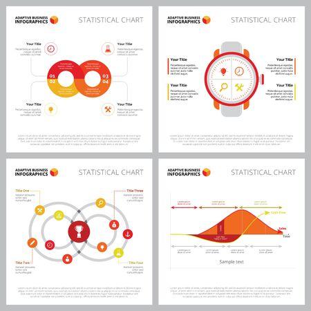 Creative diagram set for marketing research concept. Can be used for business project, annual report, web design, presentation slide template. Clock, process, line, venn chart Illusztráció
