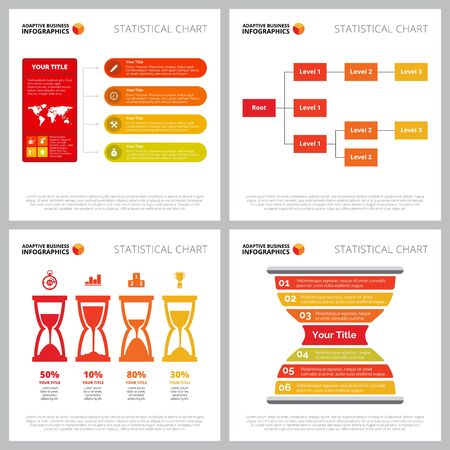 Diagram set for corporate structure, time management concept. Creative infographics for business project, marketing report, web design, presentation slide template. Sandglass, percentage, tree chart