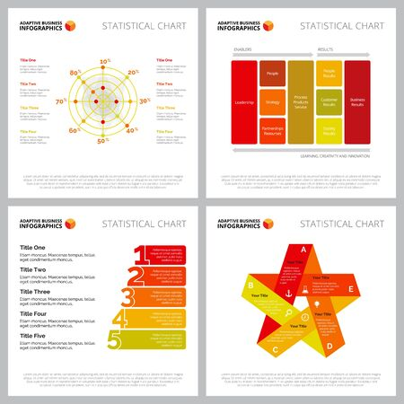 Creative diagram set for analysis, project management concept. Can be used for business project, annual report, web design, presentation slide template. Percentage, step, polar, circle, option chart Illusztráció