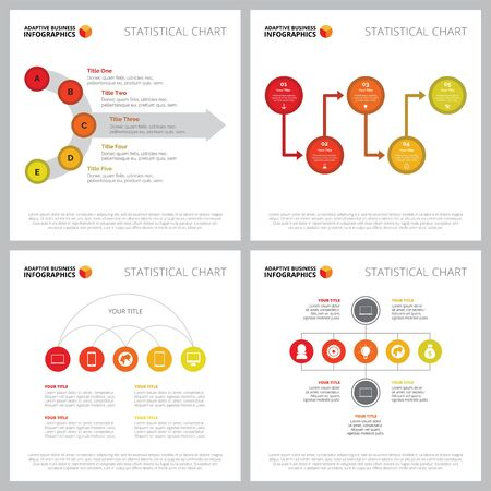 Creative chart set for management or communication concept. Can be used for business project, annual report, web design, presentation slide templates. Flowchart, process, option, step diagram Illusztráció