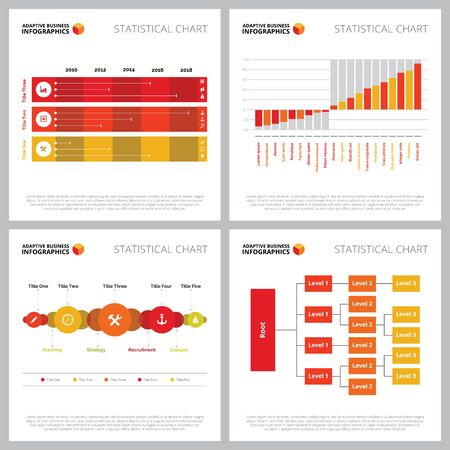 Creative chart set for analysis and statistics concept. Can be used for business project, annual report, web design, presentation slide templates. Tree diagram, timeline, bar chart, process Illustration