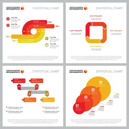 Creative infographic set for project management concept. Can be used for business project, annual report, web design, presentation slide templates. Process diagram, cycle chart, percentage, step