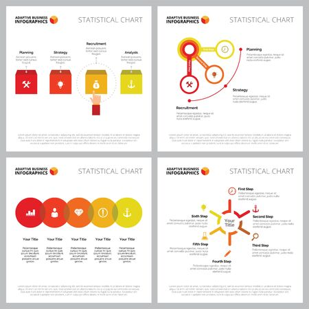 Creative chart set for finance, management, startup concept. Can be used for business project, marketing report, web design, presentation slide templates. Step diagram, process, option, pie