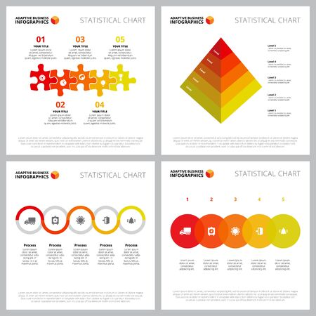 Creative chart set for management or logistics concept. Can be used for business project, annual report, web design, presentation slide templates. Step diagram, puzzle, pyramid, process 向量圖像