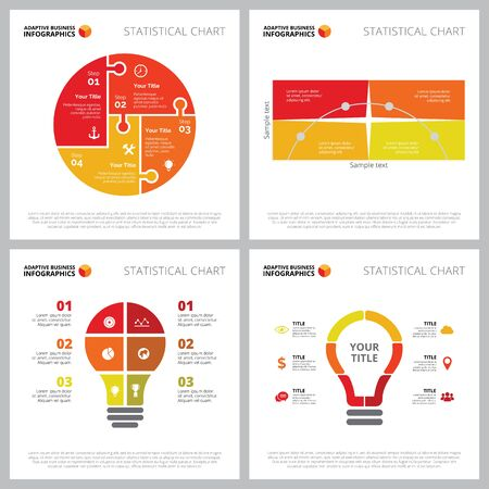 Creative infographic set for idea, startup, strategy concept. Can be used for business project, marketing report, web design, presentation slide template. Step chart, circle, lightbulb