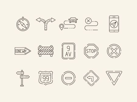 Set of traffic sign icons. Split arrow, mobile navigation, route. Road sign concept. Vector illustration can be used for topics like traffic, road marking, traffic striping