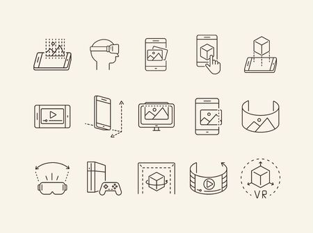 Collection of virtual reality line icons. Game console, VR cube, pictures in phone. Virtual reality concept. Vector illustration can be used for topics like VR, modern technologies, inventions Illustration