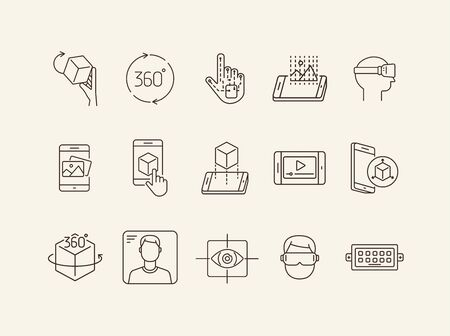 Virtual reality icons. Man in VR glasses, robotic hand, 3D modeling. Virtual reality concept. Vector illustration can be used for topics like VR, modern technologies, inventions