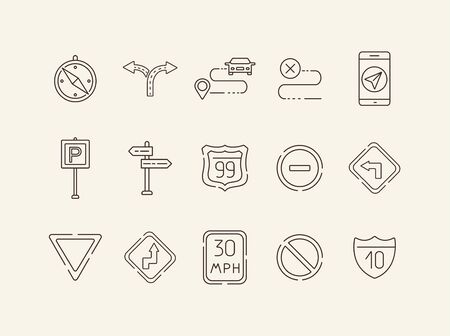 Collection of road sign icons. Compass, route, mobile navigation. Road sign concept. Vector illustration can be used for topics like traffic, road marking, traffic striping