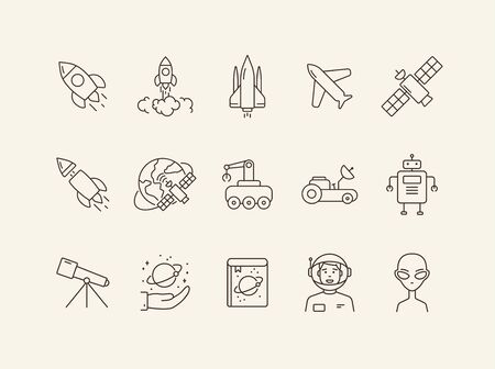 Space technology icon set. Planet and satellite, robot, telescope. Space technology concept. Vector illustration can be used for topics like space, technologies, universe Ilustrace