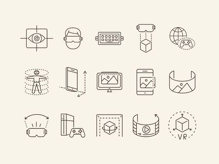 Set of virtual reality line icons. DUSB, planet and gamepad, 3D man. Virtual reality concept. Vector illustration can be used for topics like VR, modern technologies, inventions