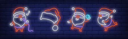 Santa Clauses with microphone and snowball neon signs set. Christmas, New Year Day design. Night bright neon sign, colorful billboard, light banner. Vector illustration in neon style.