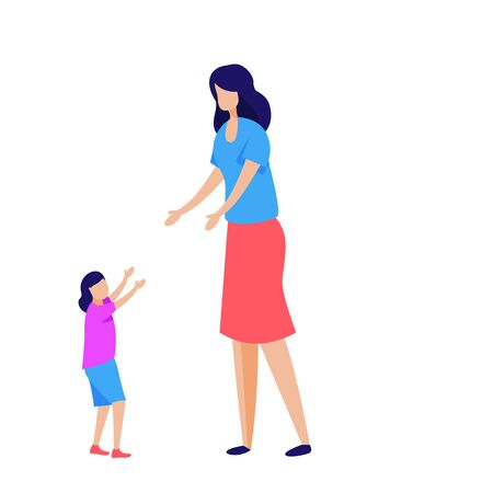 Kid making first steps. Little daughter walking to mother vector illustration. Motherhood, family concept for banner, website design or landing web page  イラスト・ベクター素材