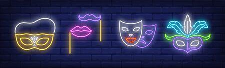 Masks, lips and moustache on sticks neon signs set. Carnival, fun, party, masquerade design. Night bright neon sign, colorful billboard, light banner. Vector illustration in neon style. Illusztráció