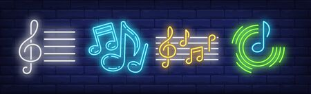 Stave, treble clef and music notes neon signs set. Melody, classical music, sound design. Night bright neon sign, colorful billboard, light banner. Vector illustration in neon style. Illusztráció
