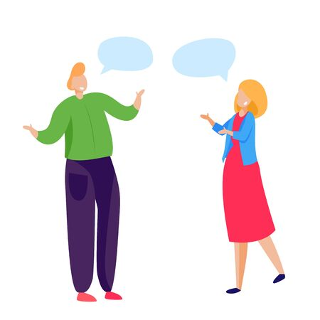Friends talking and greeting each other. Speech bubble, conversation, friendly talk flat vector illustration. Communication or meeting concept for banner, website design or landing web page Ilustrace