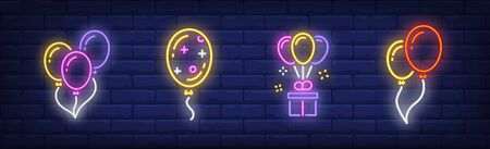 Helium balloons neon signs set. Birthday, anniversary, party design. Night bright neon sign, colorful billboard, light banner. Vector illustration in neon style.