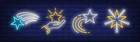 Flying stars and hand neon signs set. Celebration, success, rating design. Night bright neon sign, colorful billboard, light banner. Vector illustration in neon style.