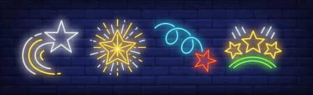 Flying stars and rating neon signs set. Celebration, success, rank design. Night bright neon sign, colorful billboard, light banner. Vector illustration in neon style. Illusztráció