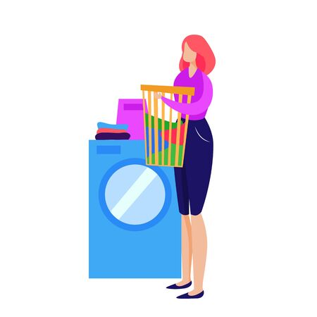 Housewife doing laundry. Woman standing at washing machine and holding linen basket vector illustration. Household concept for banner, website design or landing web page