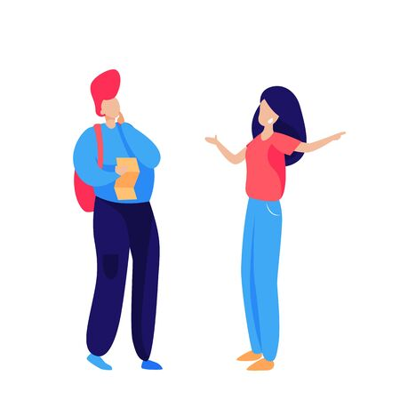 Couple of tourists with map discussing destination. Location, route, sightseeing flat vector illustration. Travel, tourism, vacation concept for banner, website design or landing web page