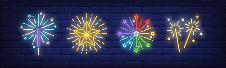 Fireworks and sparklers neon signs set. Holiday, anniversary, pyrotechnics design. Night bright neon sign, colorful billboard, light banner. Vector illustration in neon style.