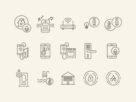 Set of smart house icons. Voice activation, water temperature, fingerprint lock. Smart house concept. Vector illustration can be used for topics like modern technologies, housing, smart system