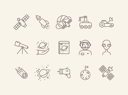 Collection of space technology icons. Telescope, encyclopedia, alien. Space technology concept. Vector illustration can be used for topics like space, technologies, universe