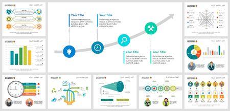 Kolorowe wykresy analizy dla szablonów slajdów prezentacji. Elementy projektu biznesowego. Koncepcja zarządzania może być wykorzystana do raportu rocznego, reklamy, układu ulotki i projektowania banerów.