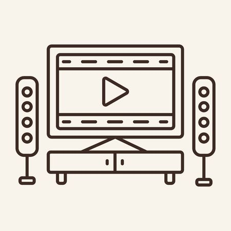 Home cinema line icon. Television, multimedia, leisure. Cinema business concept. Vector illustration can be used for topics like cinematography, entertainment, leisure