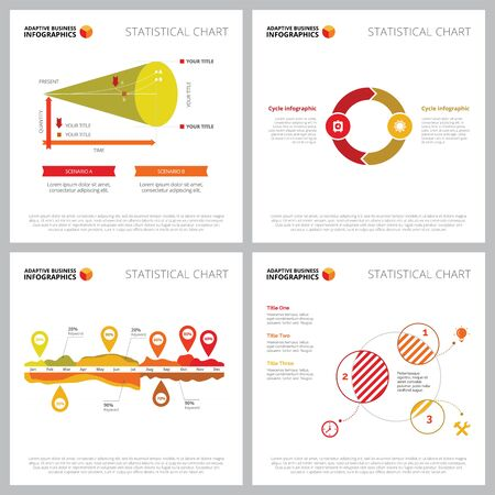 Creative diagram set for planning, startup, marketing concept. Can be used for business project, annual report, presentation slide template. Venn chart, timeline, percentage, cycle