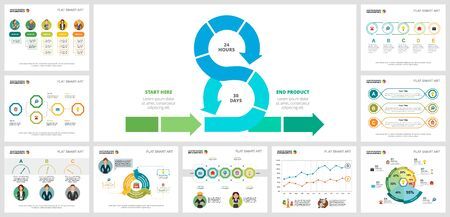 Colorful statistics or research concept infographic charts set. Business design elements for presentation slide templates. For corporate report, advertising, leaflet layout and poster design. 일러스트
