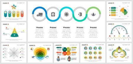 Colorful promotion or training concept infographic charts set. Business design elements for presentation slide templates. For corporate report, advertising, leaflet layout and poster design. Ilustrace