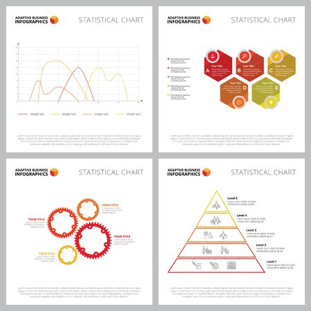 Creative diagram set for commerce, production concept. Can be used for business project, marketing report, presentation slide template. Process, pyramid, mechanism, line chart